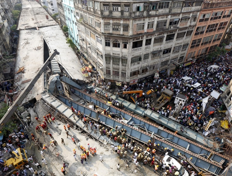 Aerial view of the flyover collapse at Kolkata, India