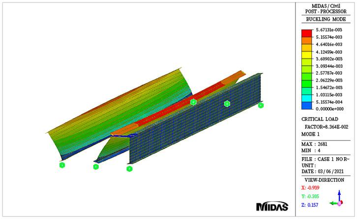 Buckling mode shape for girder only case (mode 1)