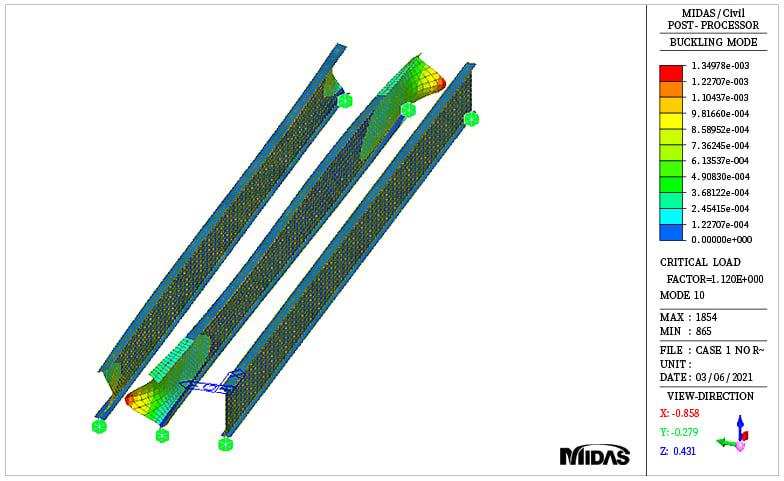 Buckling mode shape for girder only case (mode10)