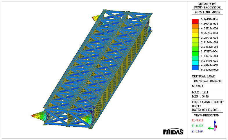 Buckling mode shape for girder with horizontal and vertical bracing case (mode 1)