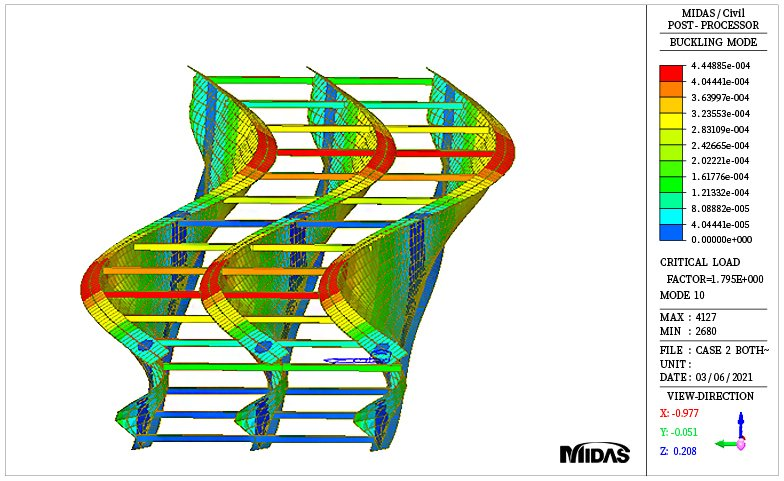 Buckling mode shape for girder with horizontal bracing case (mode 10)