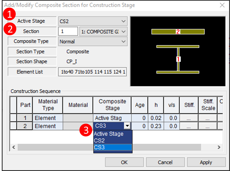 Figure 3.2 Add Composite Section for Construction Stage
