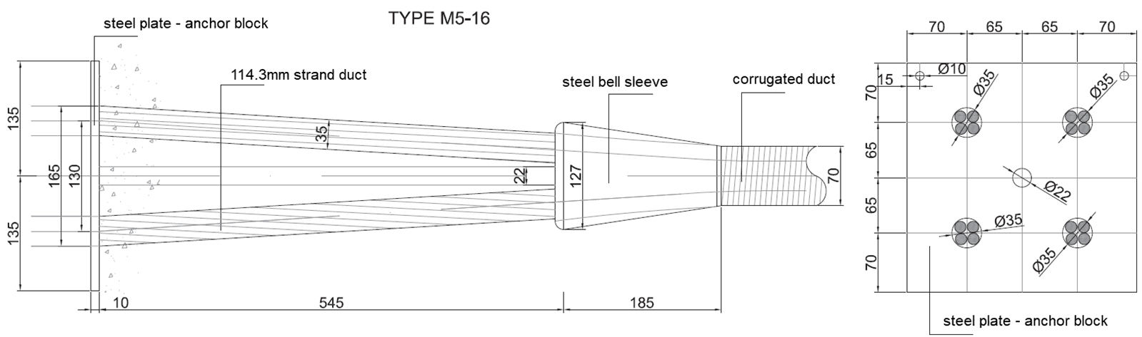 Image 3 Details of the end part of a 16 ½ inch strands post-tensioning cable according to the Morandi System, re-drawn (Units mm)