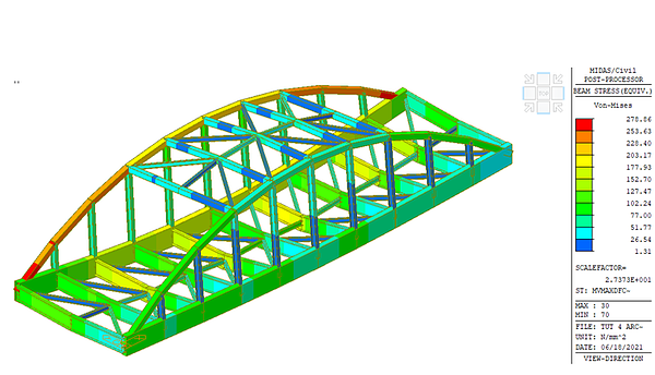 Fig. 10  Von-Mises Stress for Cross Bracing near mid-span