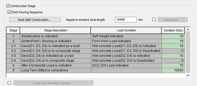 Construction Stage tab in Steel Composite Bridge Wizard