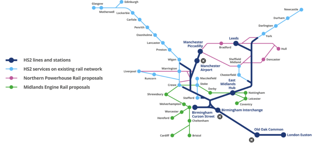 Fig: HS2 lines and station plan