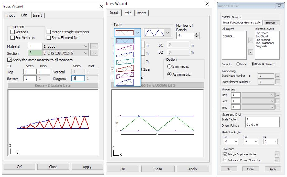 Figure 12: Truss Wizard function and CAD import